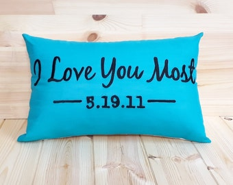I Love You Most Pillow Cover,---FREE SHIPPING---valentine gifts,Throw Pillow, Decorative, Family Room Decor, Home Decor