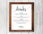 Wedding Drinks Sign, Kraft Paper Reception Drinks Sign, Cards and Gifts, Rustic Wedding, DIY Editable PDF, Instant Download E69B