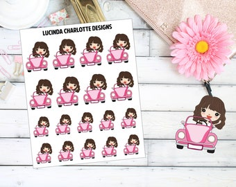 Car -  Fuel/Oil/Service/MOT - Brown Hair Girl Character - Planner Stickers