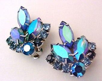 Sarah Coventry Blue Lagoon Earrings Julianna DeLizza Elster rhinestone