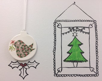 Hand painted Flat Bauble - Holly bird with Mistletoe - Bauble, christmas, friend, christmas decoration, christmas ornament, gift