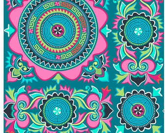 DreamWeaver, Dreamworld, Amy Butler, Free Spirit, Teal Mantra, Morocco, Pink, Green, Blue 100% Quilting Cotton Fabric, Choose your Cut