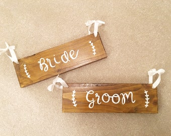 Rustic wedding chair back signs