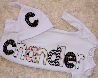 Appliquéd infant gown and cap; Personalized infant gown; Monogram infant gown