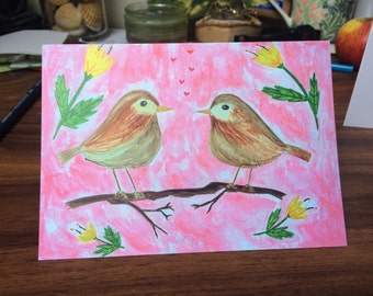 Lovely Birds Greetings Card - Flowers Card - Love Card - Special Card - Family Card - Birds Card - Friends Card- Hand Made Card- Nature Card