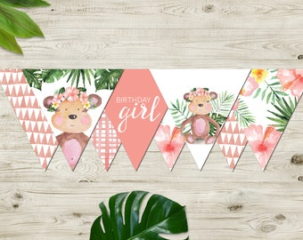 Little Monkey Girl Printable Bunting