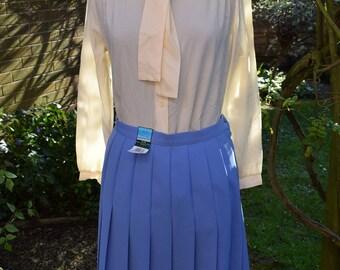 Retro Skirt Powder Blue (Bluebell) St Michael uk 14 New with Label Pleated Knee Length Skirt Polyester
