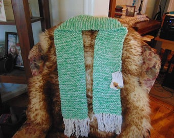 """Hand knitted women's scarf. 66"""" X 6"""". Very warm and stylish."""