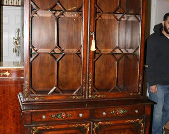 Stunning Painted Georgian English Country Maitland Smith China Cabinet Superb!