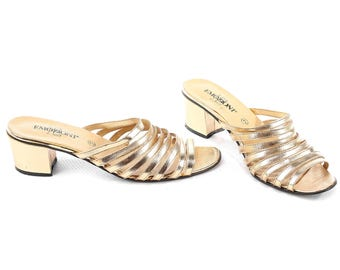 METALLIC Sandals 90s Gold Mules Faux Leather Multi Strap Block Heel Slingback Shoes Open Toe Slip On Sliders Slides Eur 40, Us 9.5 , Uk 7
