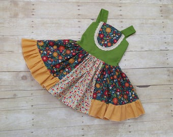 Custom Size Boutique Bib Style Dress, Floral and Polka Dots, Navy Yellow and Green Dress, Handmade Layering Dress, Toddler Boutique Dress