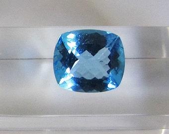 Topaz jewelry. Semi precious stone. Fine cushion stone. Topaz 7.68 carats. Blue gem cut cushion