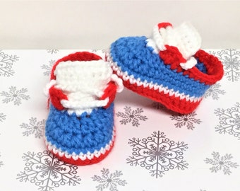 Baby Shoes Crochet Red White Blue Newborn Sneakers Baby Booties