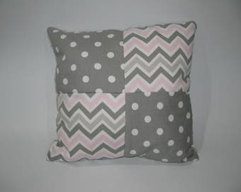 Cushion Pink chevron and grey peas