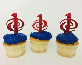Moana Glitter Cupcake Toppers personalized number with swirls