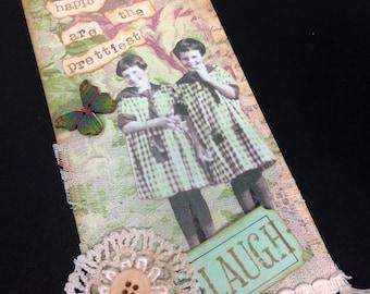 Vintage Girls Mixed media art tag hang tag mirror tag gift tag shabby chic birthday gift just because