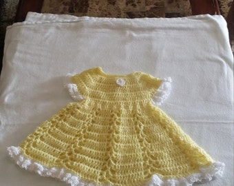 Crocheted Yellow Girls Dress