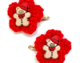 Holiday Hair Clips/Teddy Bear Santa/Snowflakes/Christmas Gifts/Christmas Stockings/Bottle Cap Santa & Santa's Helper/Hand Crocheted Flowers