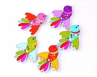 5 pcs Colored Birds Buttons, Nice Wooden Colorful Birds Buttons, for Scrapbooking, for Clothing, Knitting Sewing Crafts Embellishments