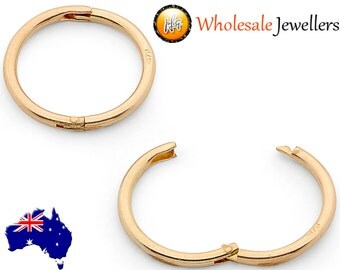 New 925 Gold Plated Solid Sterling Silver Hinged Hoop Non Allergenic Sleeper Earrings Australian Made