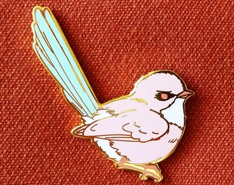 Splendid Fairywren Female Hard Enamel Pin - Pink White Blue and Gold - Lapel Pin Cloisonné Badge