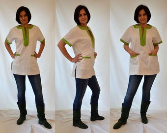 White, ivory, green, comfortable, louse, tube, oversized cotton, short sleeves top, tunic Size 14-16