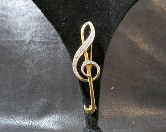 Carolee Vintage Treble Clef Pin- Gold Tone with Clear Rhinestones. Straight Pin with Excellent Clasp