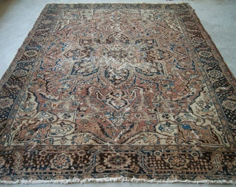 6'x8'10'' Persian Heriz Rug, Large Area Rug, Handwoven Antique Rug