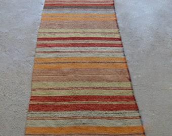 """2'9""""x11'2"""" Vintage Runner Rug, Striped Turkish Hallway Runner"""