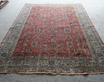 6'8''x10' Oushak Rug, Vintage Rug, Oriental Distressed Rug