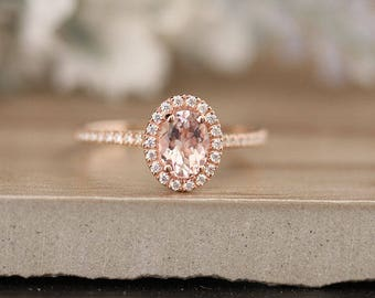 7x5mm Oval Morganite Engagement Ring, Diamond Halo and Half Eternity Band, Rose Gold Morganite Ring, Promise Ring, Eternity Ring
