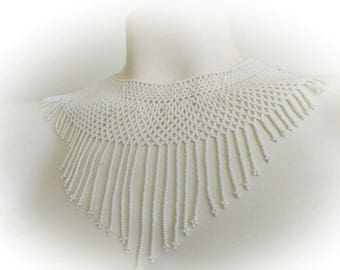 Hand beaded white necklace