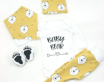 baby coming home outfit,Baby bear organic sweatshirt fabric,unisex outfit,Bear hat,pants,sleepers,bib,yellow or petrol blue,baby gift