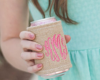 Burlap Drink Wrap, FREE Personalization, Monogrammed Drink Wrap, Embroidered Drink Wrap, Personalized Drink Wrap, Monogrammed Gift