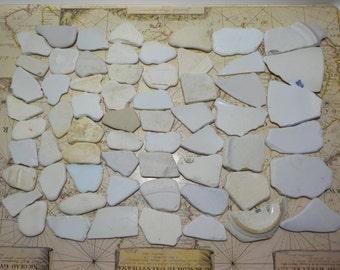 60 Bulk Sea Pottery White/Cream White - Beach Pottery Shards - Sea Pottery Wedding Guest Book #11