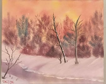 Warm Winter trees Oil Painting for Sale