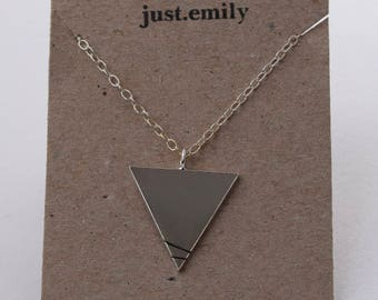 Geometric Linear Necklace | Silver Triangle Necklace
