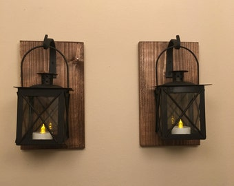 Set of (2) two lantern, Black lantern, wall lantern, Bathroom wall decor, Wall Scones, living room decor, Kitchen decor, Hanging Scones