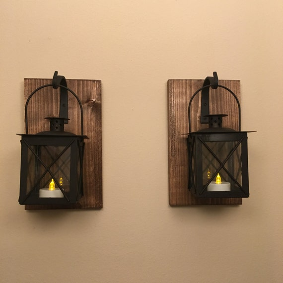 Wall Lantern Decor : Set of 2 two lantern Black lantern wall lantern Bathroom