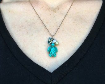 REDUCED PRICE Turtle Necklace Turquoise Sterling Silver Swarovski Crystal Mother of Pearl