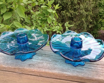 Vontage blue candle holders