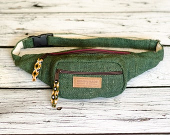 Green Hemp Waist Bag Money belt Hip Bag Belt bag fanny pack, genuine suede bum bag, festival bag, bauchtasche