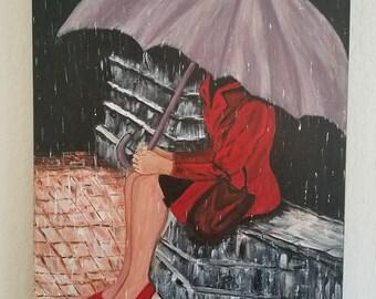 Atossa (girl in rain with umbrella)
