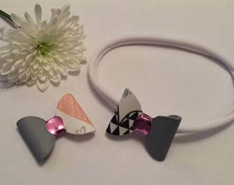 Heart patterned and grey girls baby childrens hair bow headband