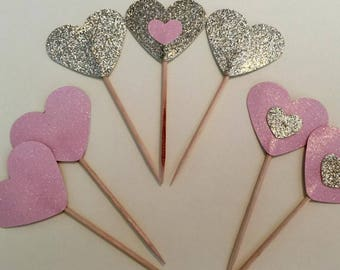 12 Gold & Pink Heart Shaped Cupcake Toppers