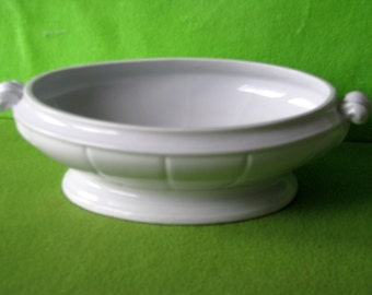 White Ironstone Vegetable Serving Dish in Leaf Fan Pattern 1800's