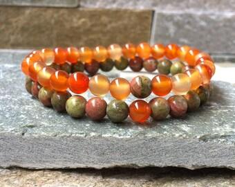 Partner bracelets bracelet set him and 6mm red agate Unakite remote relationship