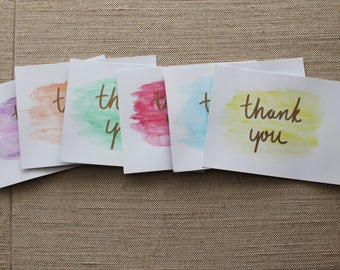 Watercolor Thank you Cards Set of 6