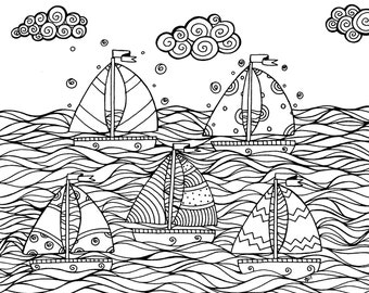 Sailboats Nautical Adult Coloring Page Instant Download and Bonus Stationery Printable