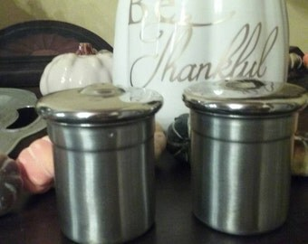 Pair of Stainless Steel Salt and Pepper Shakers